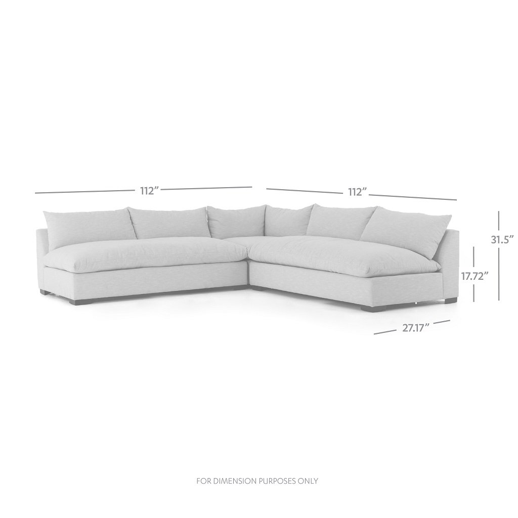 Grant 3-Piece Sectional Sofa - Oatmeal Dimensions