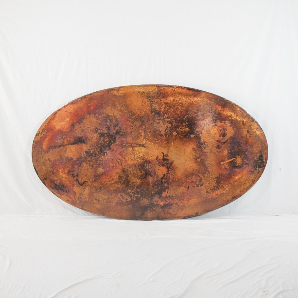 Hammered Copper Tabletop Oval Shape Natural Finish