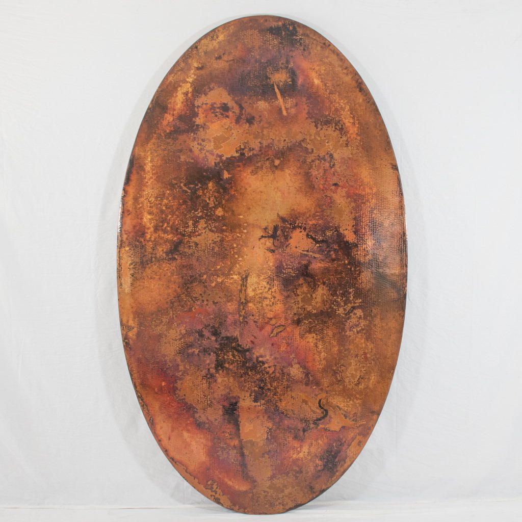 Hammered Copper Oval Tabletop Natural Finish Artesanos