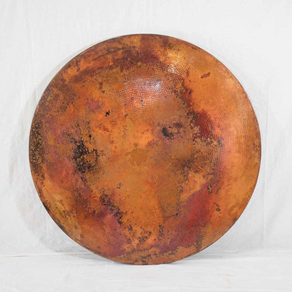 Round Copper Tabletop Hammered Texture Natural Finish