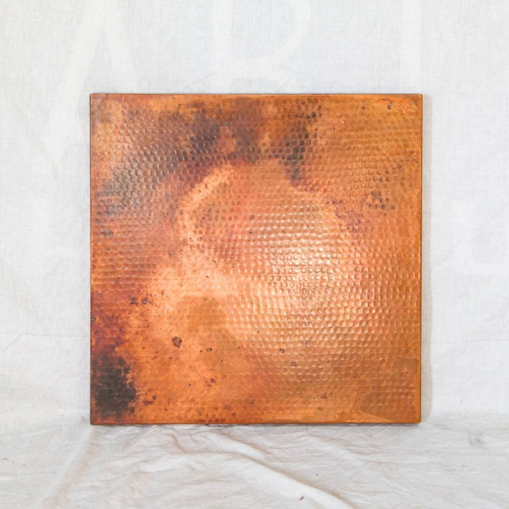 Hammered Copper Square Tabletop - Natural w/ Spots