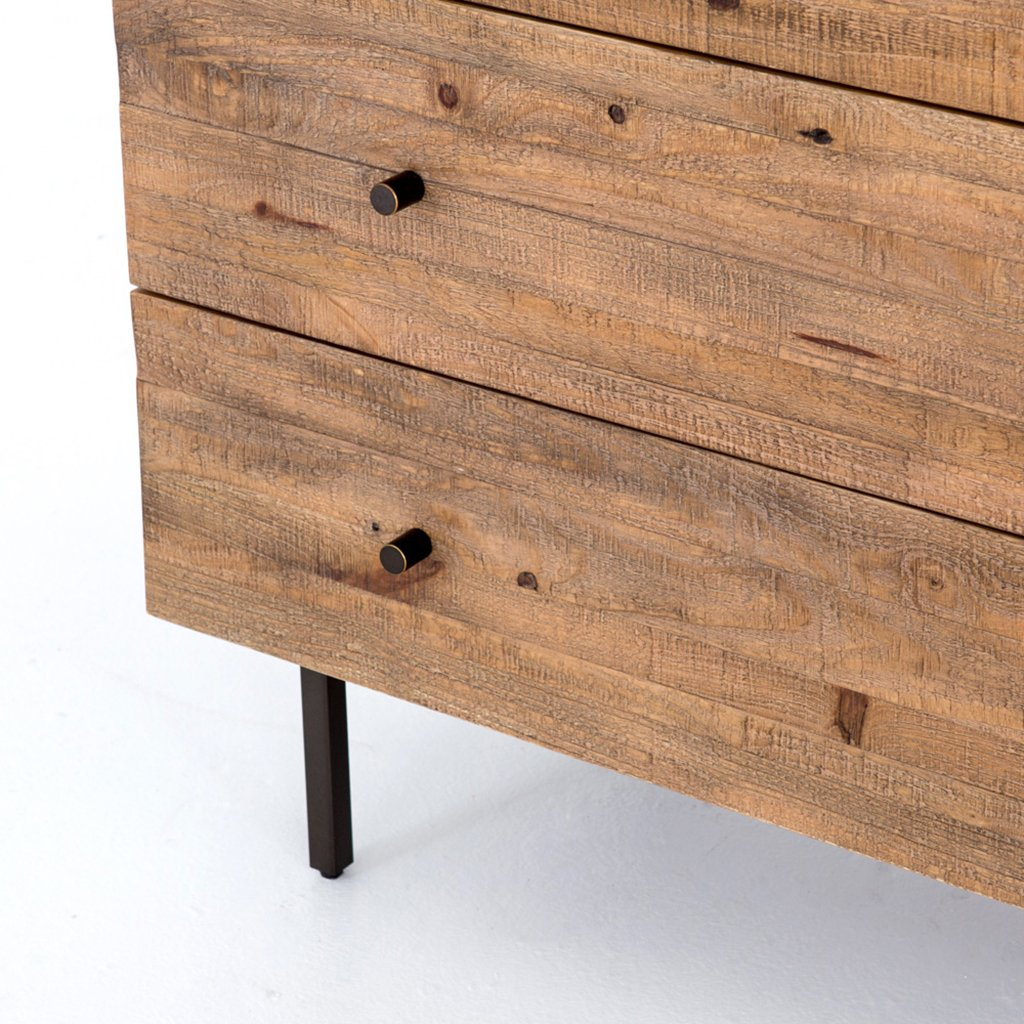 rustic modern five drawer dresser
