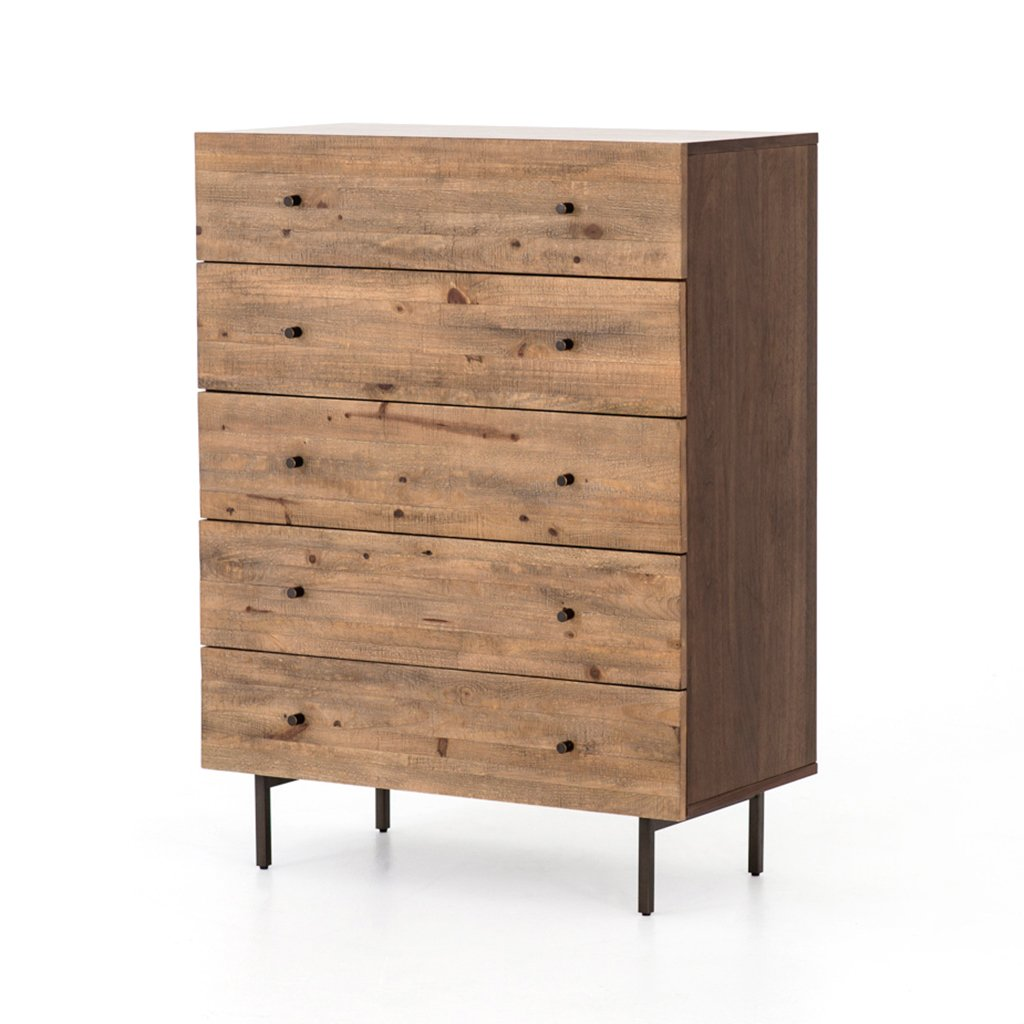 modern rustic five drawer dresser
