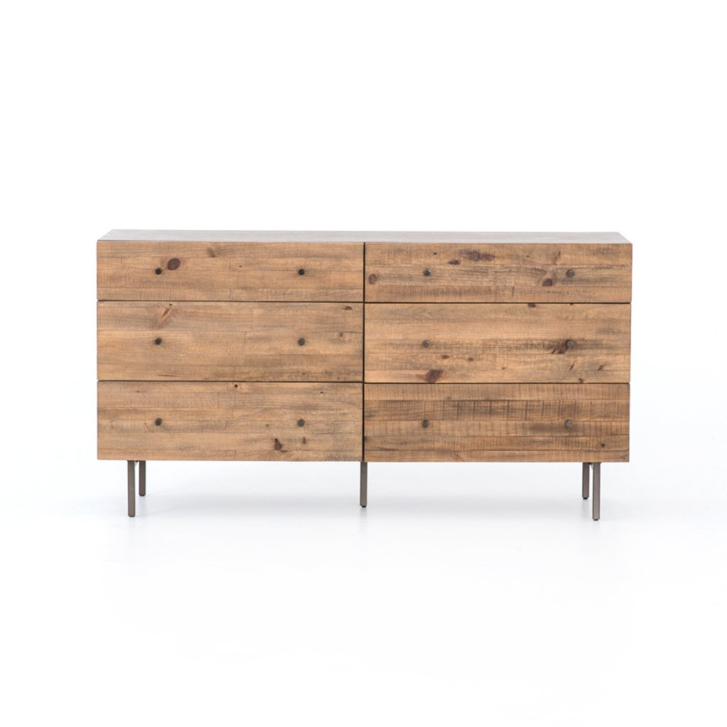 modern pine six drawer dresser