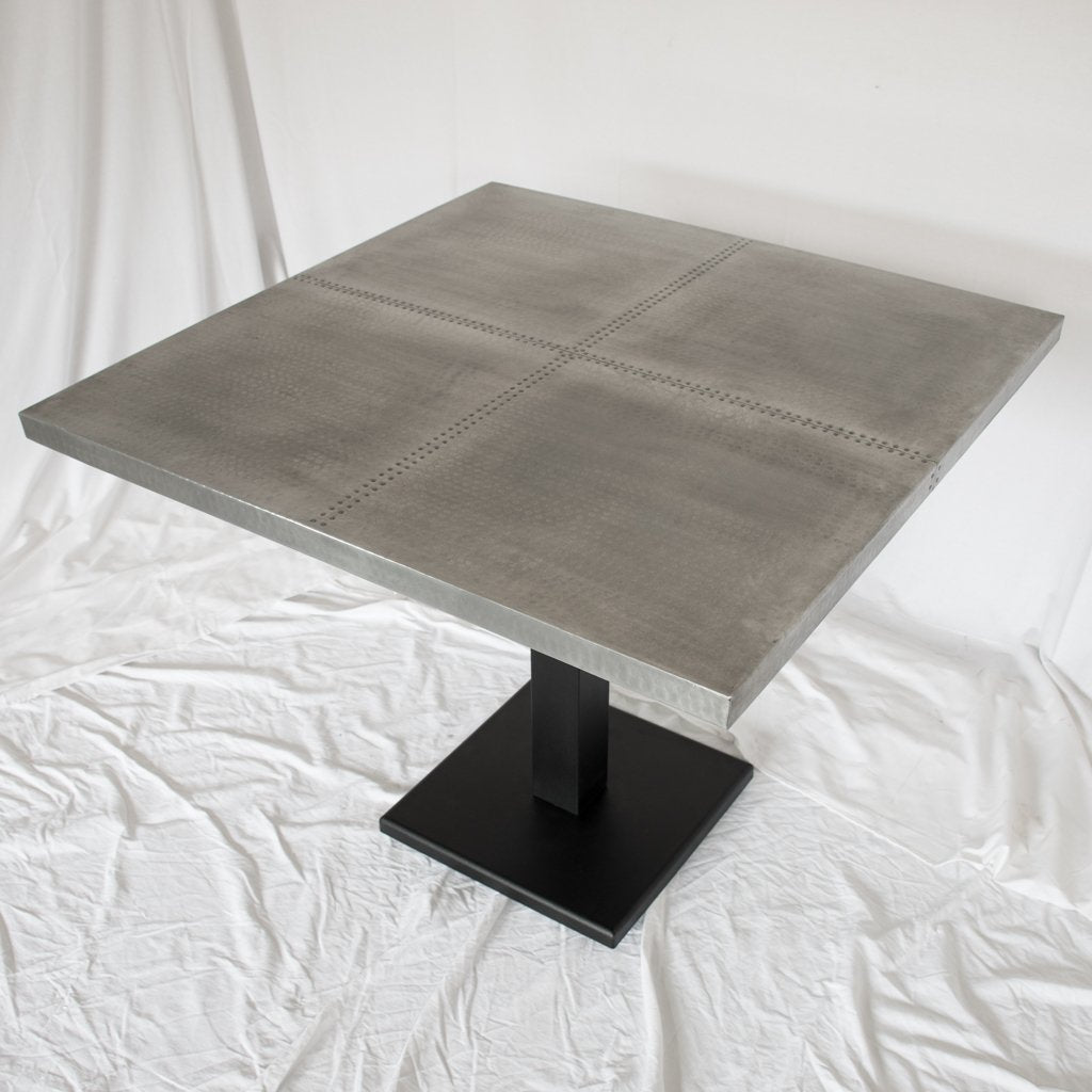 zinc square dining table