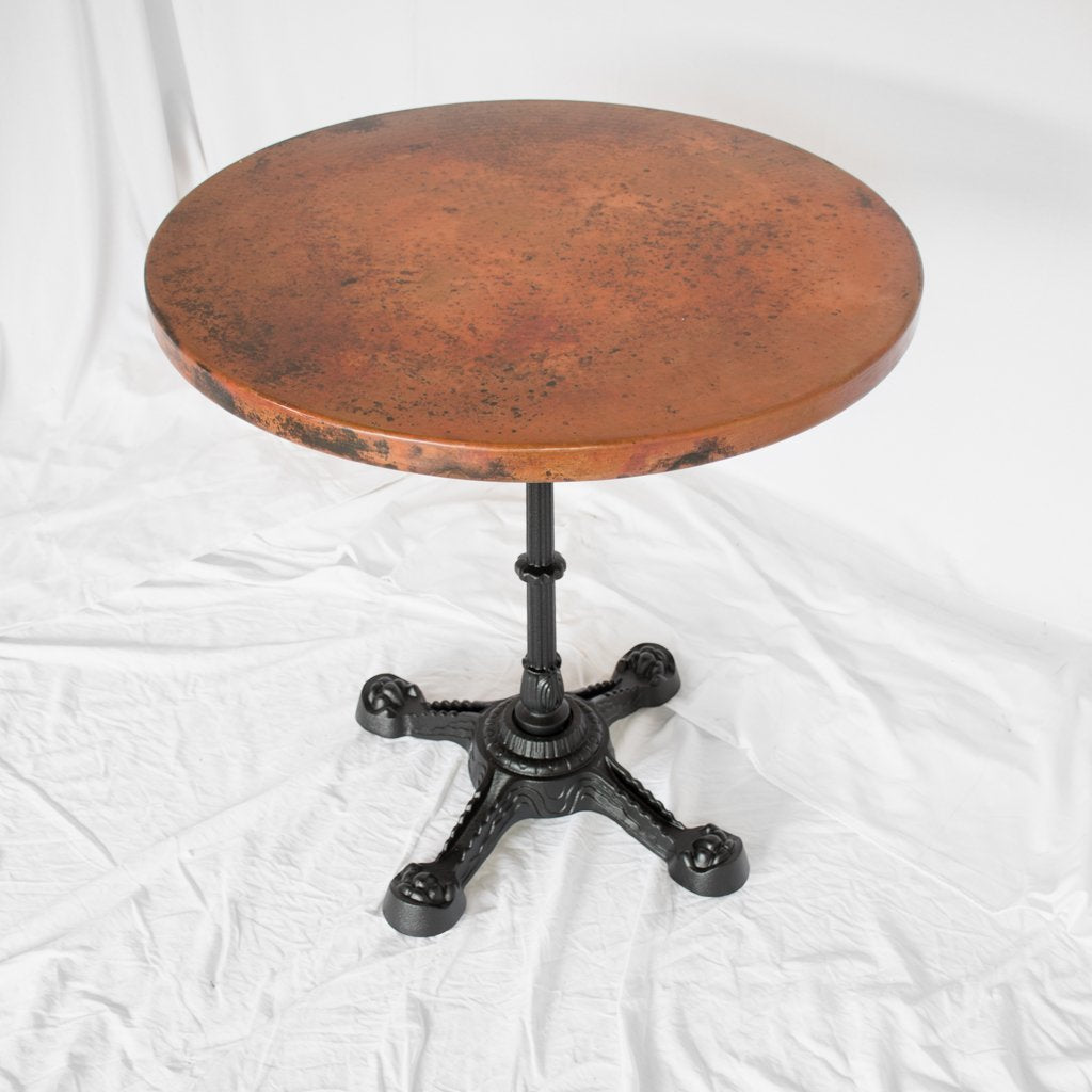 Round copper bistro table