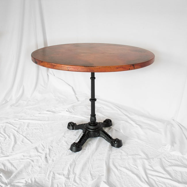 large copper bistro table
