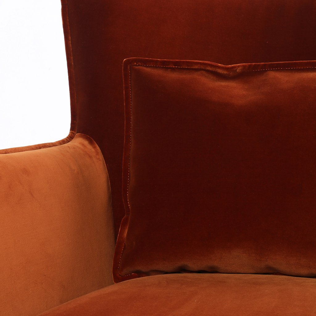 Pillow Detail Jacob Swivel Wing Chair Orange Velvet CABT-11106-191