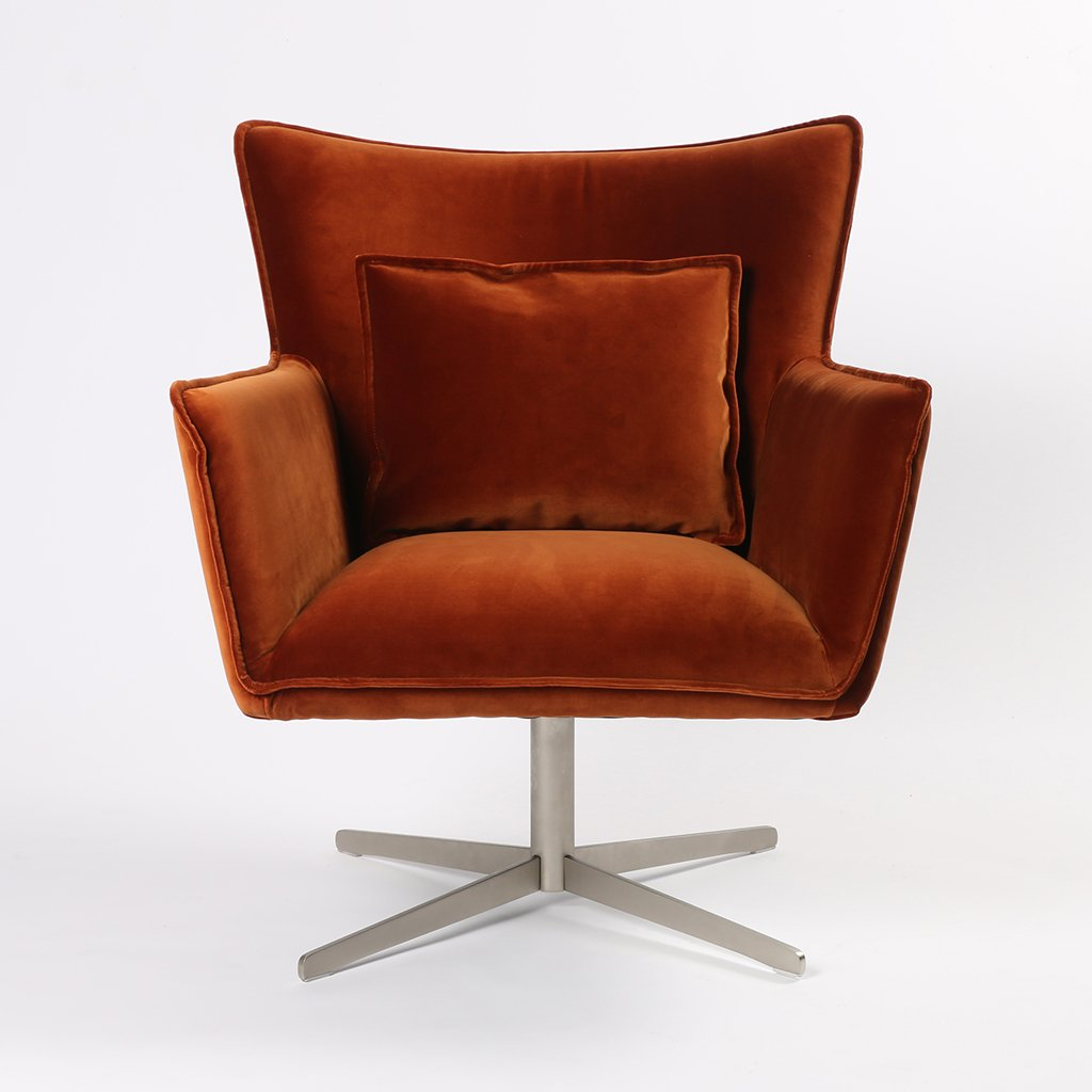 Jacob Swivel Wing Chair Orange Velvet CABT-11106-191 Front View