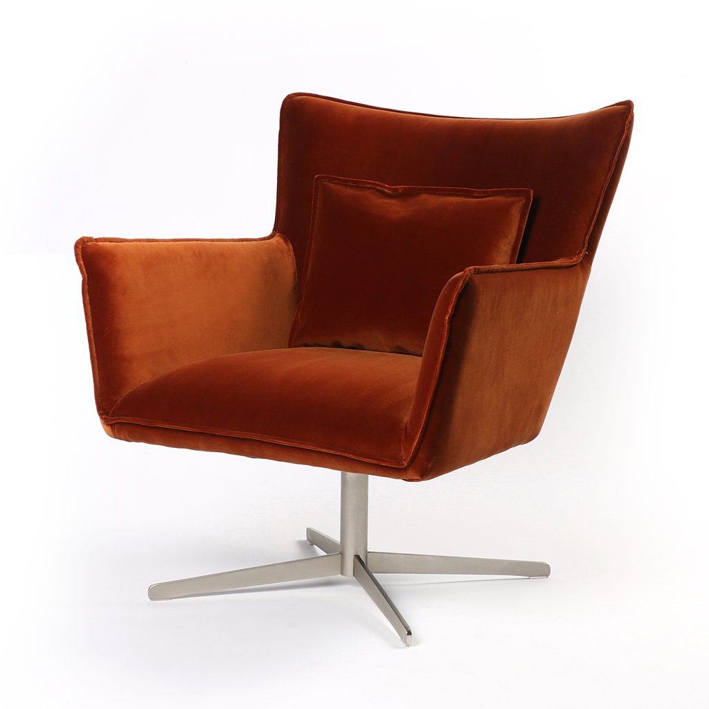 Jacob Swivel Wing Chair Orange Velvet CABT-11106-191