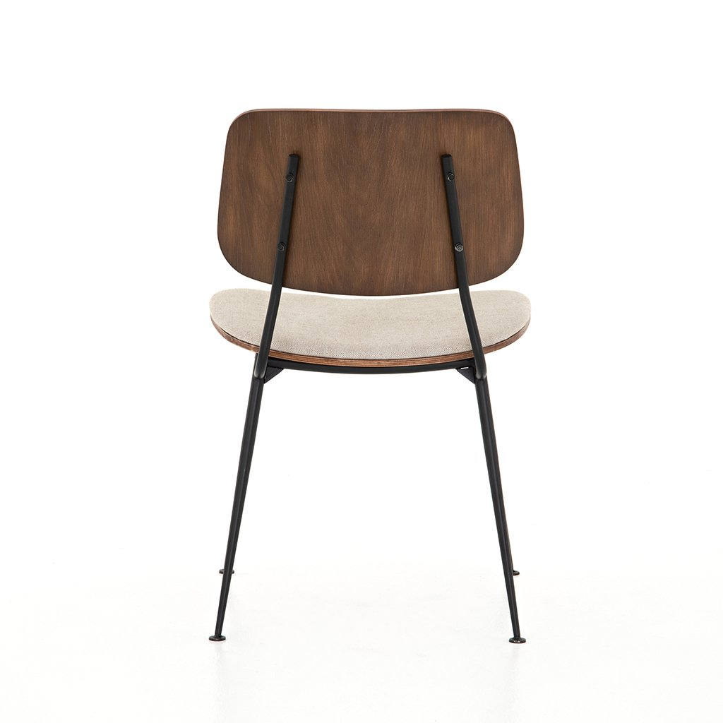 Jared Bent Ply Dining Chair - Acorn & Heavy Linen Back View