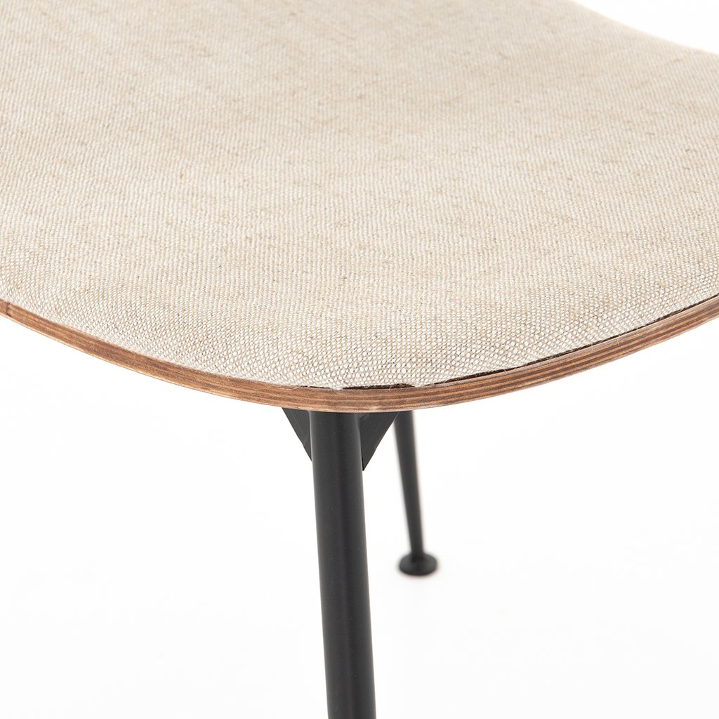Jared Bent Ply Dining Chair - Acorn & Heavy Linen Seat Detail
