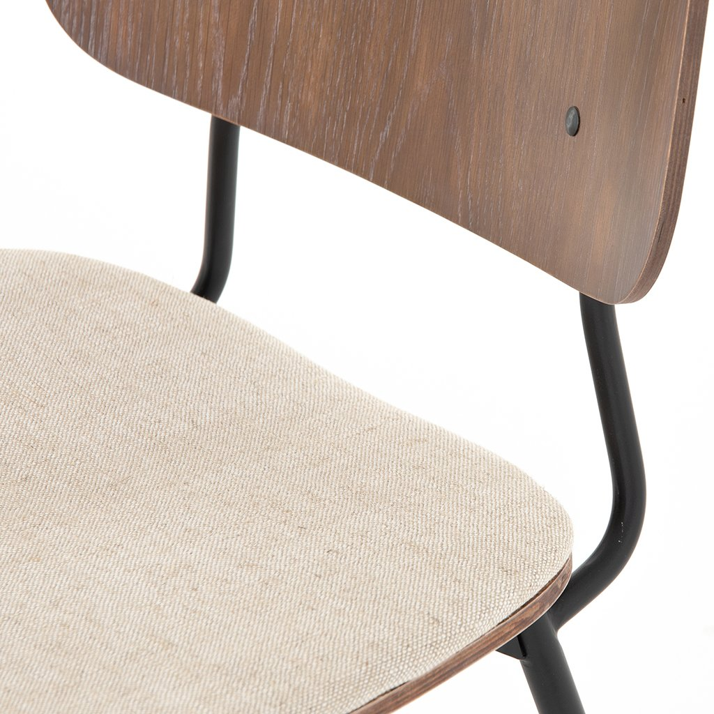 Jared Bent Ply Dining Chair - Acorn & Heavy Linen Back Support Detail