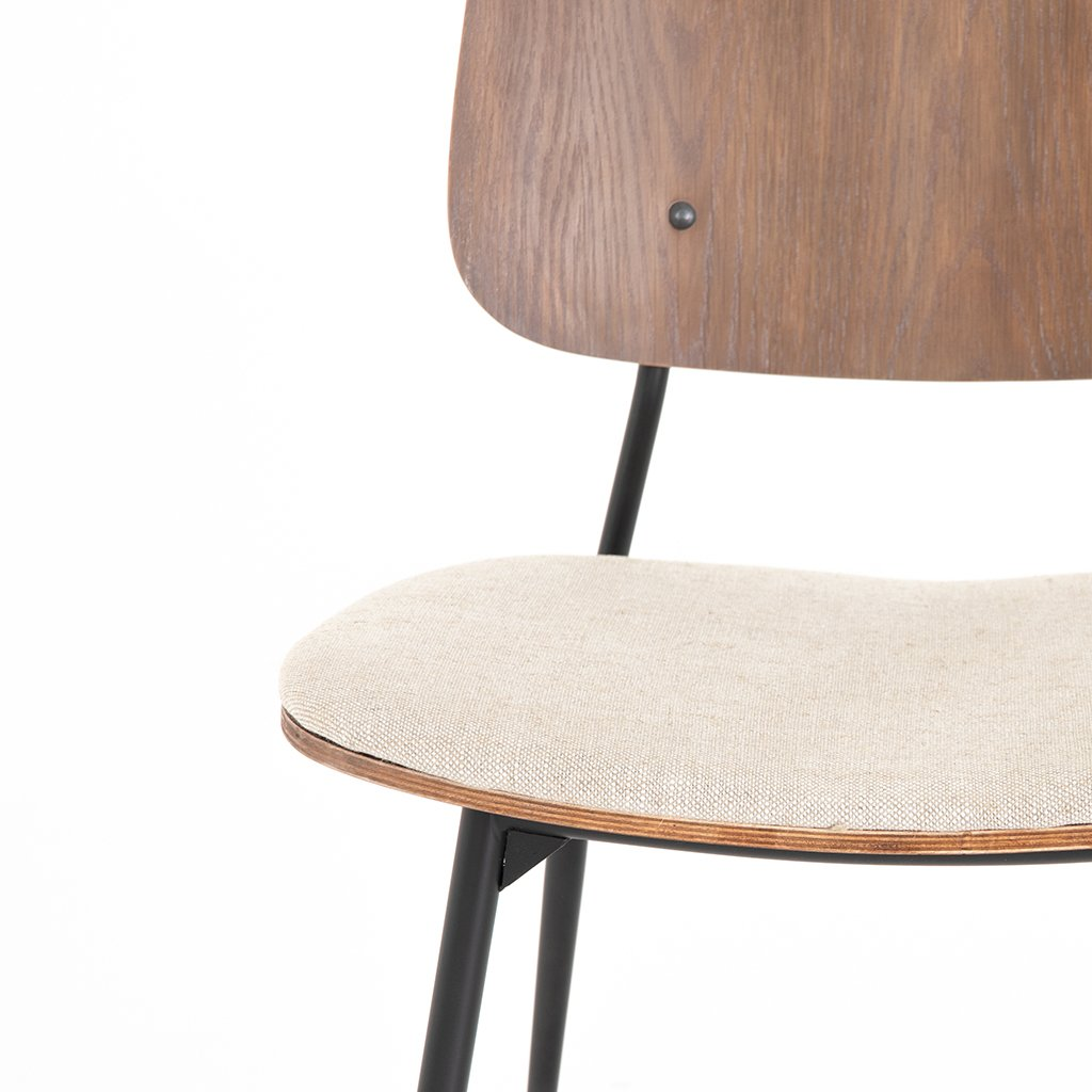 Jared Bent Ply Dining Chair - Acorn & Heavy Linen Detail