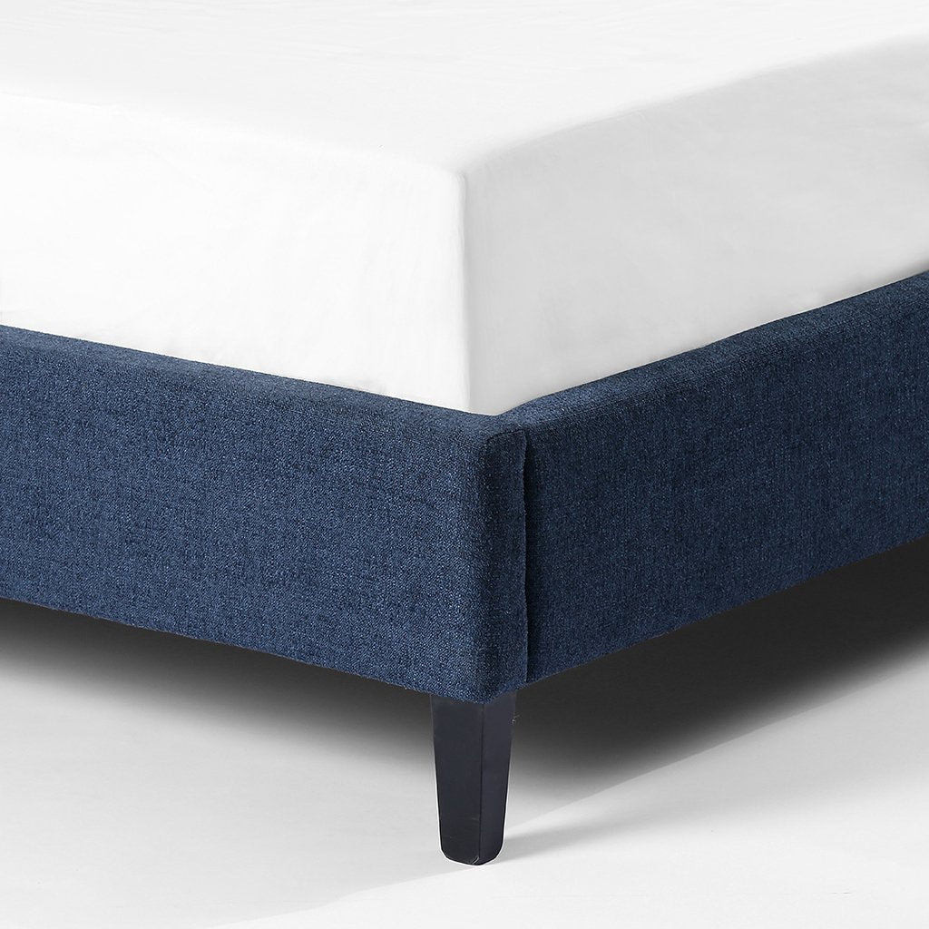 upholstered blue bed