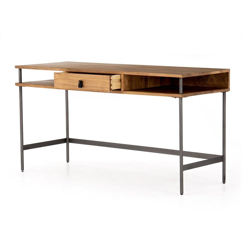 Joaquin Modular Writing Desk - Honey Open Drawer