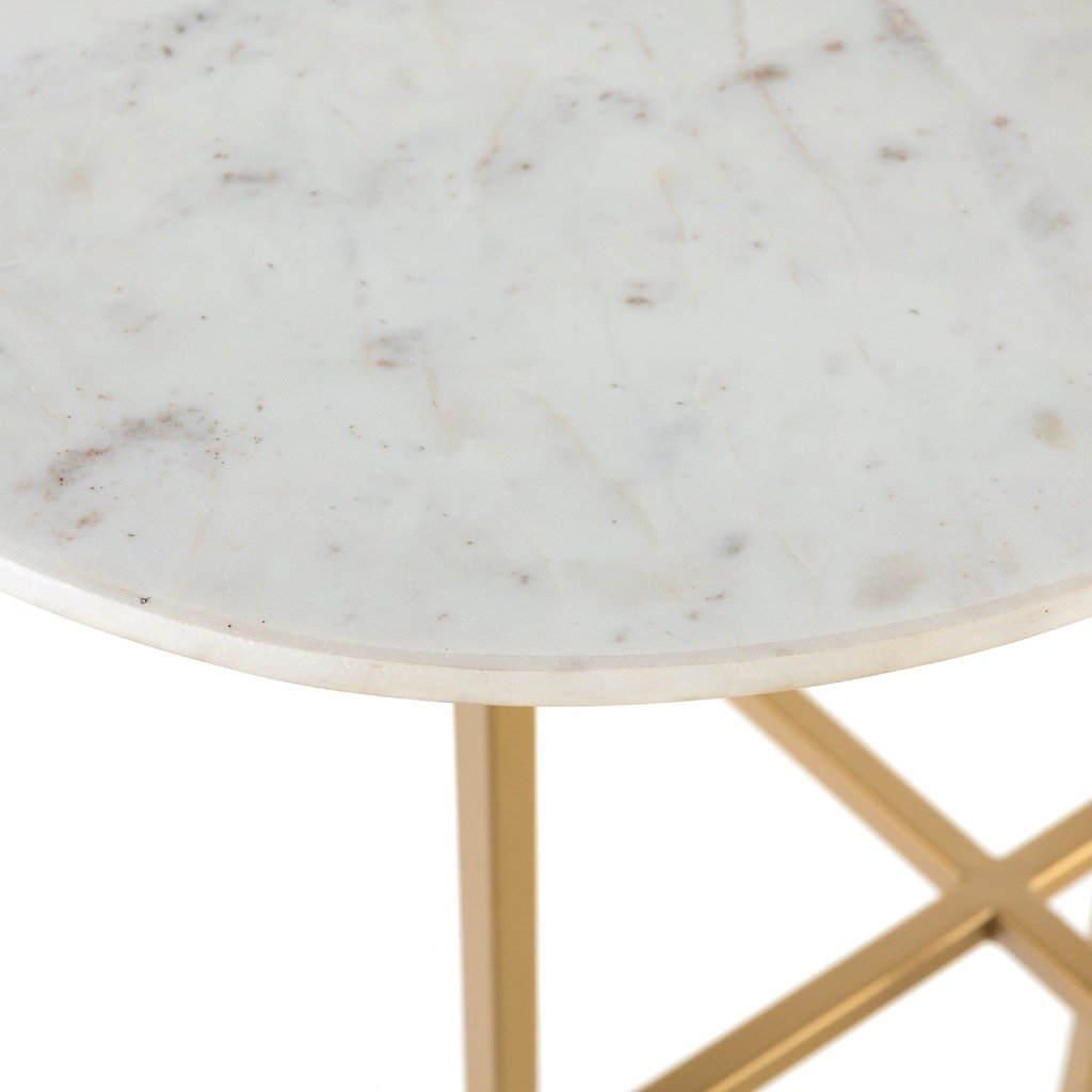 Juliet Desk - White Marble Antique Gold Iron Legs