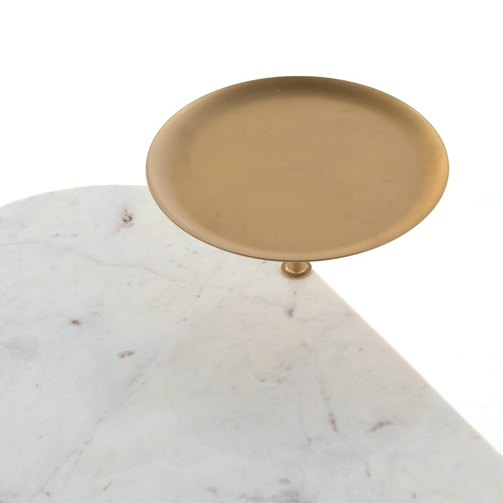 Juliet Desk - White Marble Floating Shelf Detail