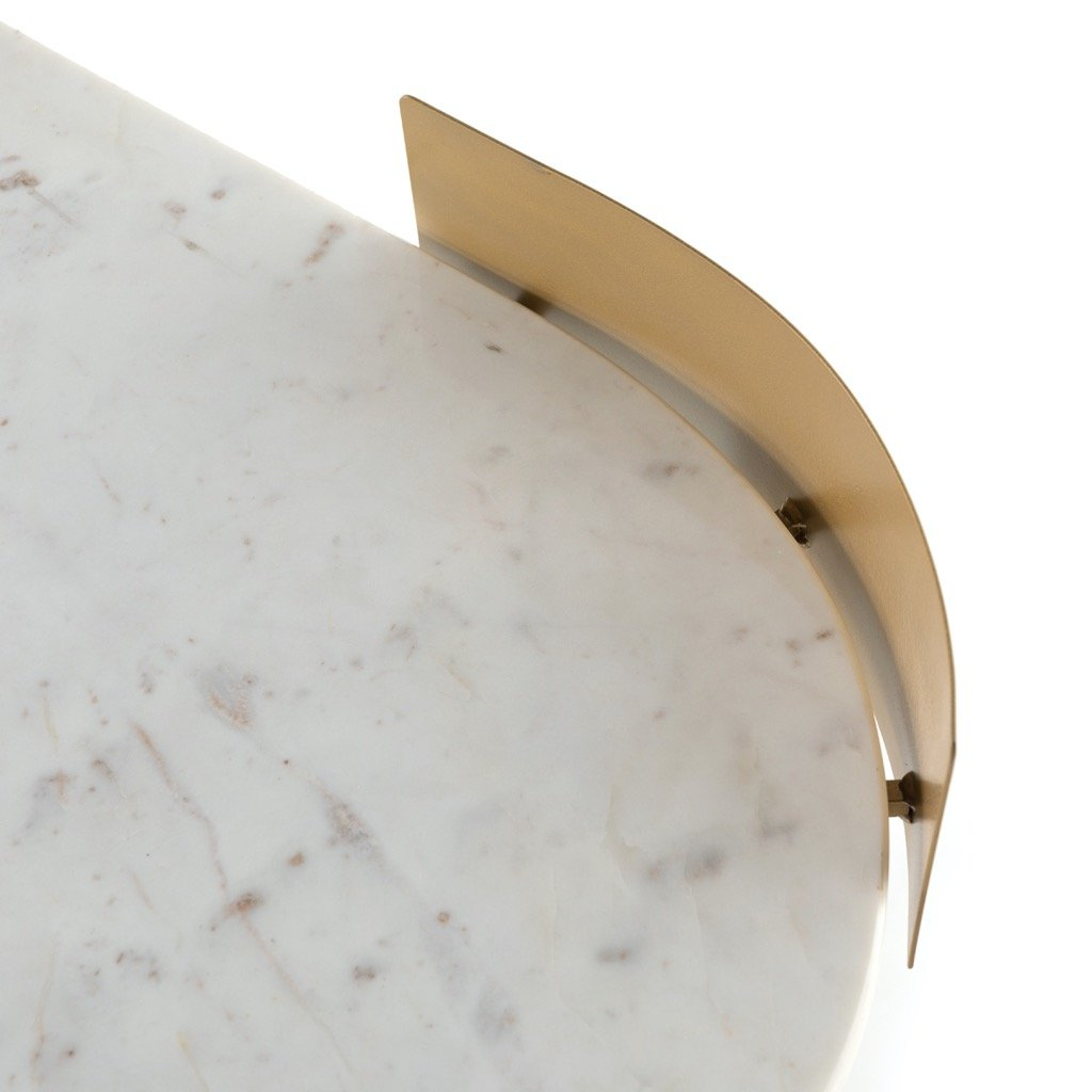 Juliet Desk - White Marble Kidney-Shaped Tabletop