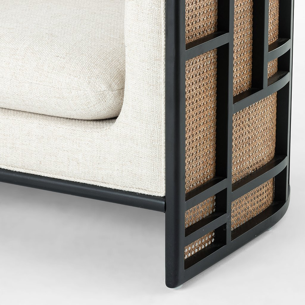 June Geometric Accent Chair - Brushed Ebony Four Hands Leg View