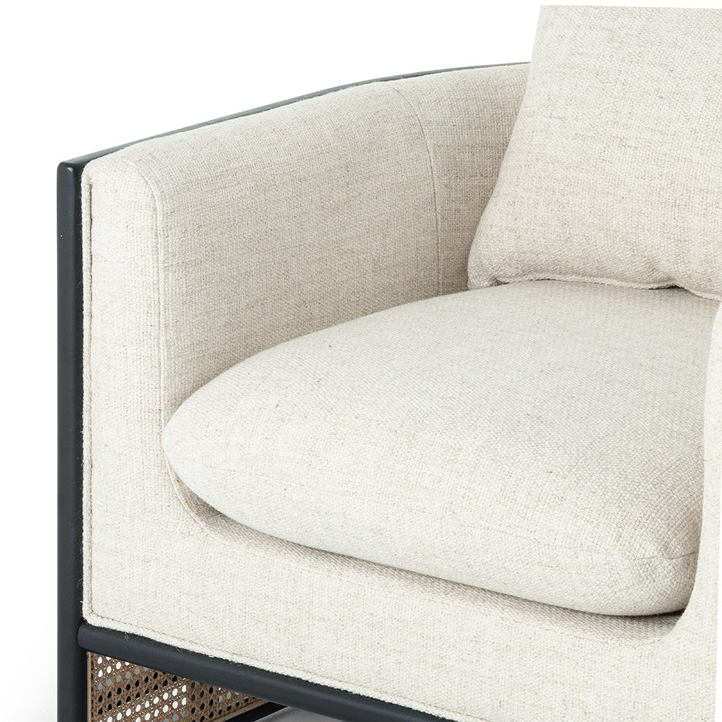 June Geometric Accent Chair - Brushed Ebony Four Hands Cushion Detail