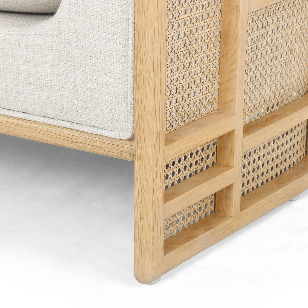 June Geometric Accent Chair - Natural Oak Four Hands Furniture Leg Detail