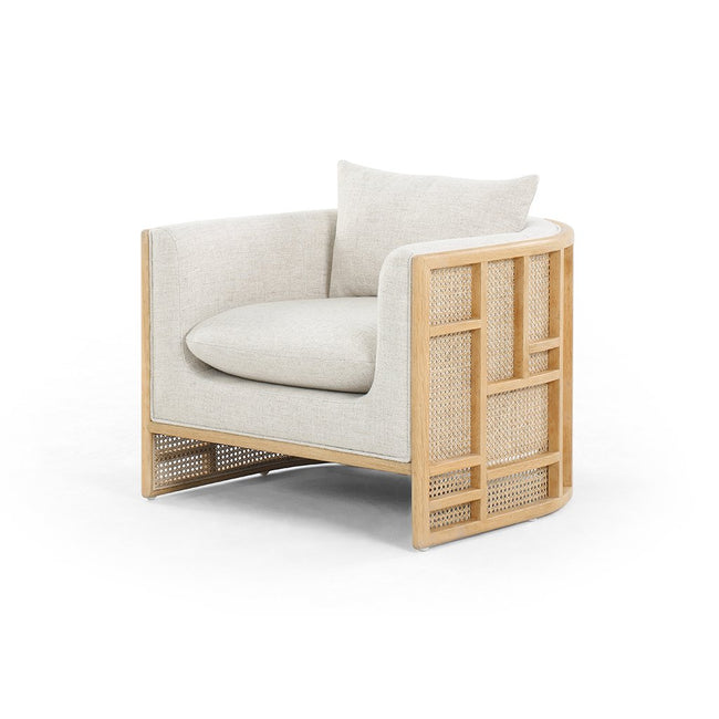 June Geometric Accent Chair - Natural Oak Four Hands Furniture