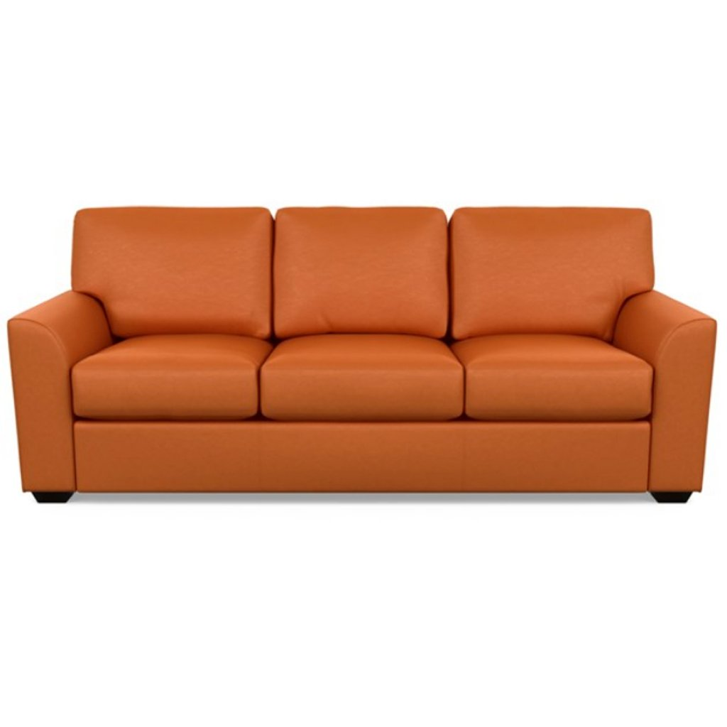 Kaden Leather Three Seat Sofa by American Leather Bali Marigold