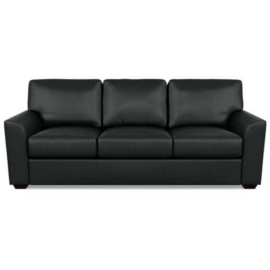 Kaden Leather Three Seat Sofa by American Leather Capri Onyx