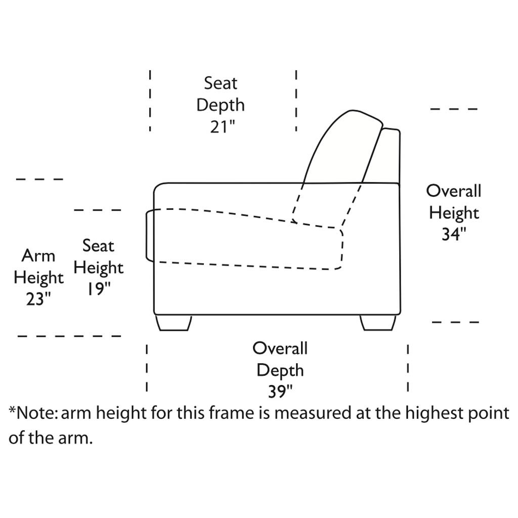 Kaden Sofa Side View Dimensions