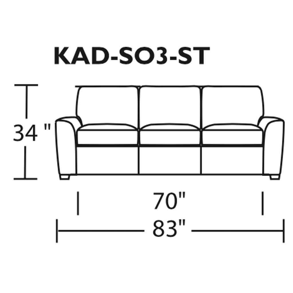 Kaden Leather Three Seat Sofa by American Leather Measurements