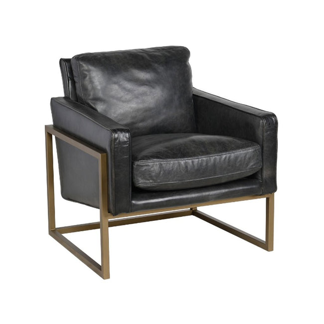 Ken Black Leather Club Chair Classic Home Furniture