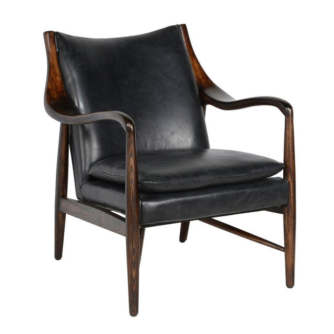 Kiannah Club Chair Black Leather
