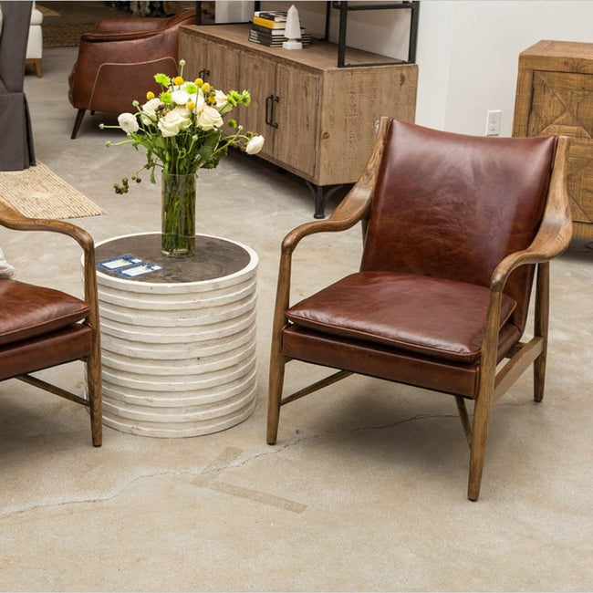 Kiannah Club Chair Brown Leather