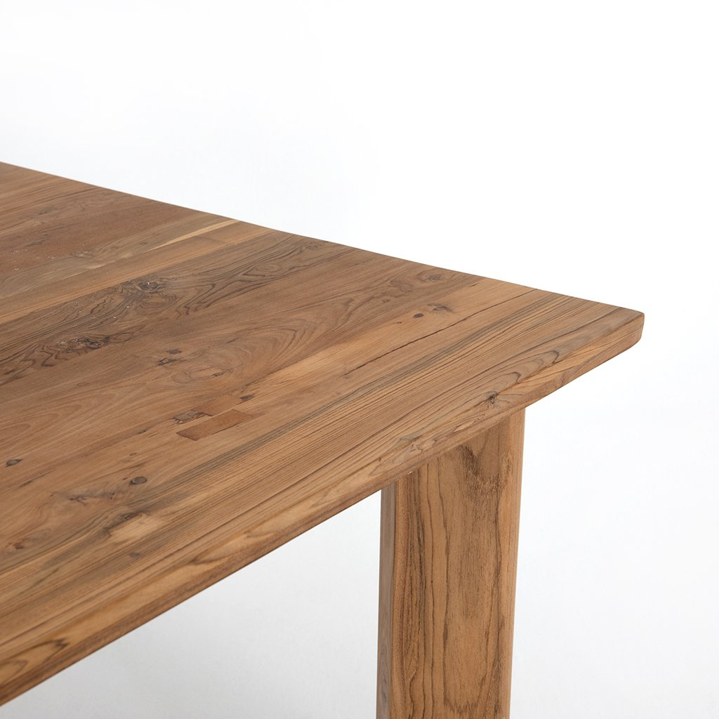 Kimball Reclaimed Teak Square Dining Table Four Hands IMER-035 Corner Detail