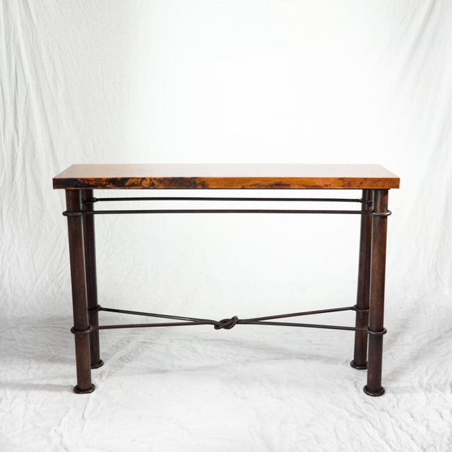 copper top console table iron base artesanos