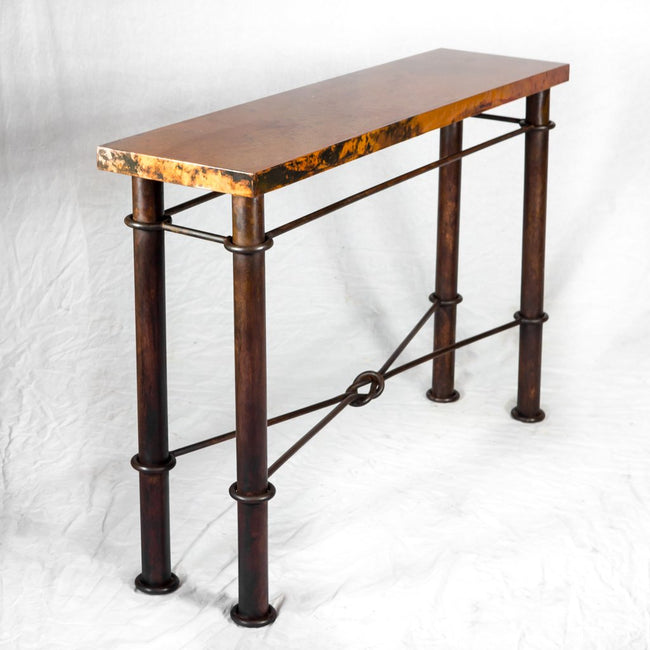 copper and iron console table