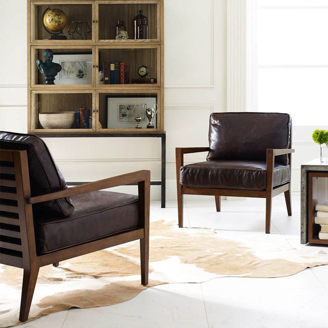Four Hands Laurent Accent Chair - Dark Brown Leather CKEN-B6X-367