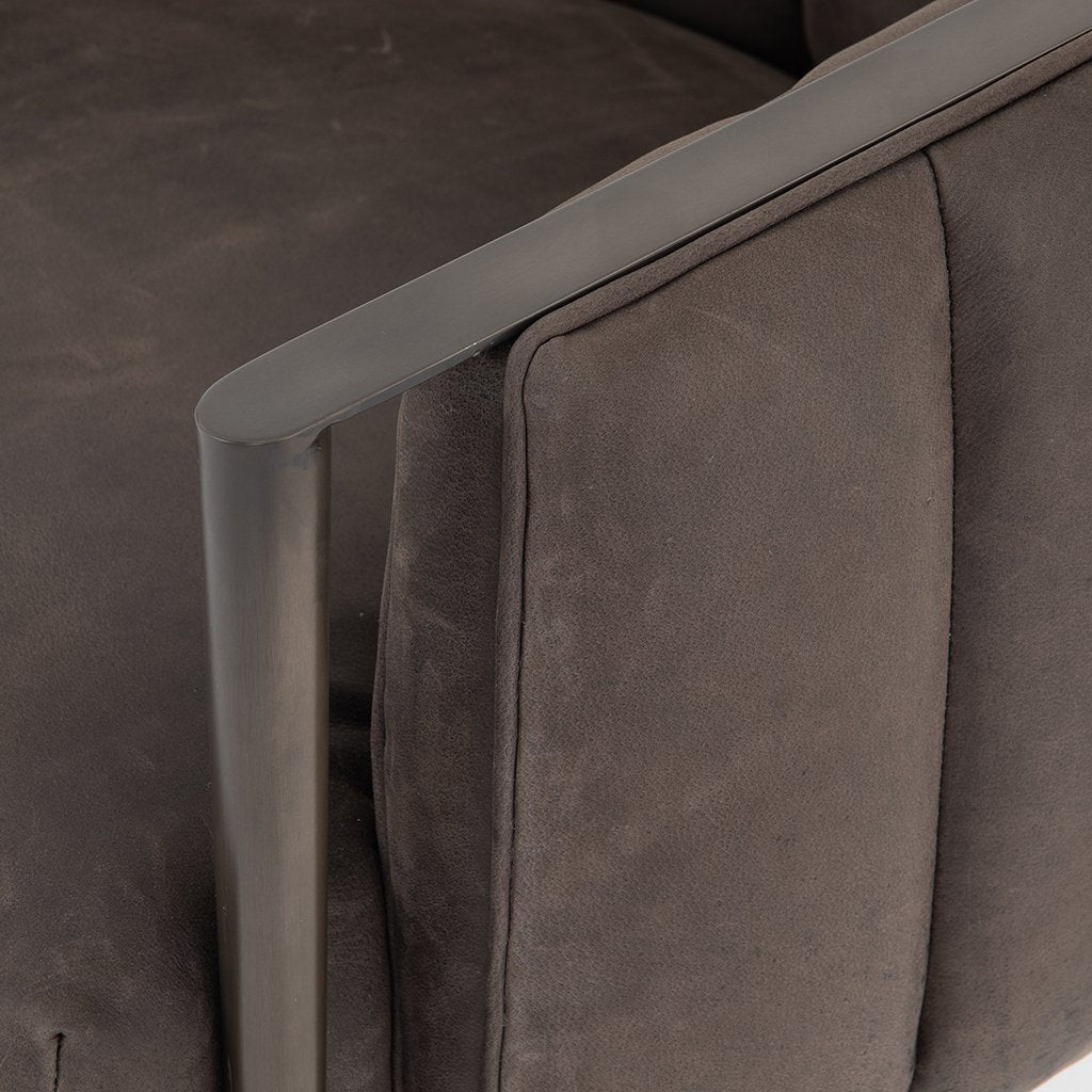 Leonor Leather Accent Chair - Winchester Chimney Arm Detail