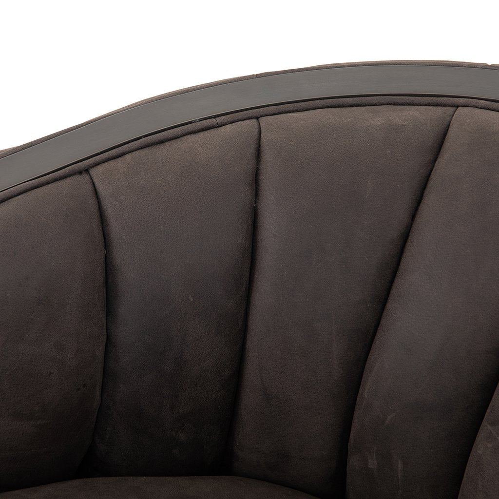 Leonor Leather Accent Chair - Winchester Chimney Channelling Detail
