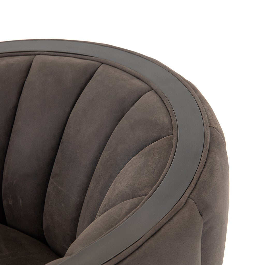 Leonor Leather Accent Chair - Winchester Chimney Back Rest Detail