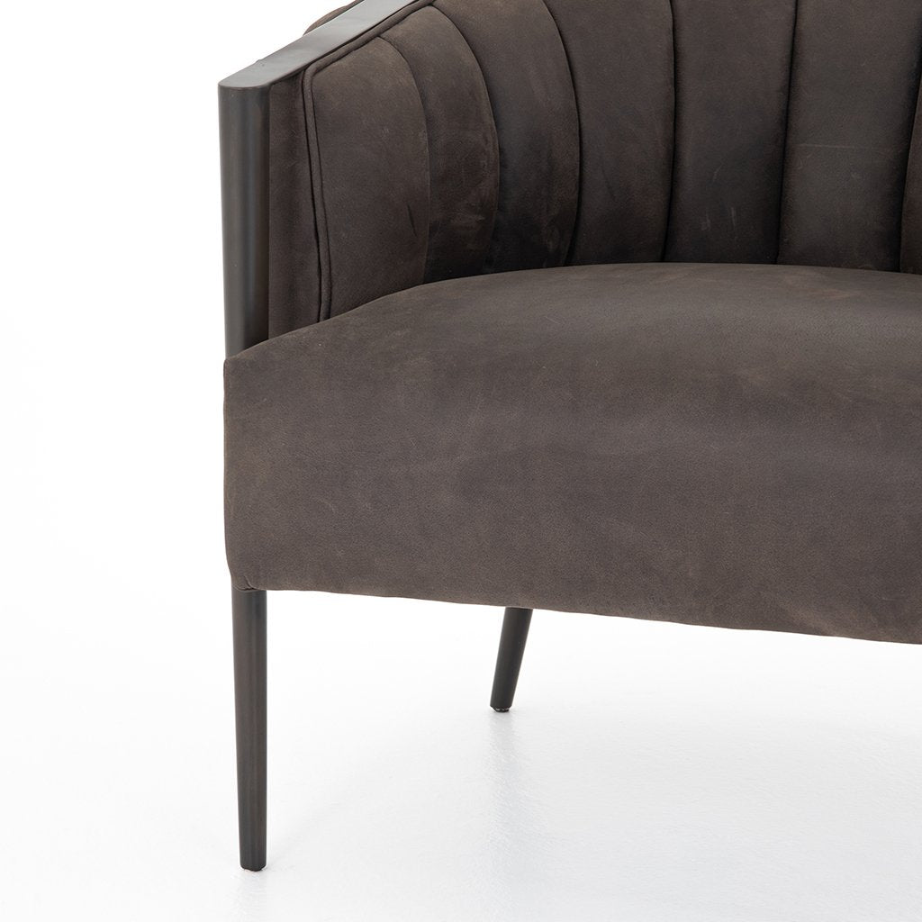 Leonor Leather Accent Chair - Winchester Chimney Seat Detail