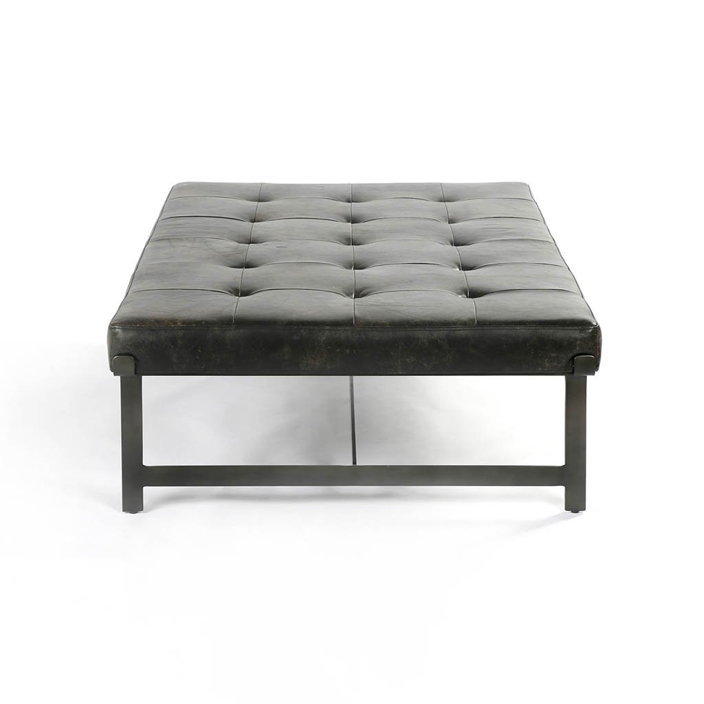 black leather coffee table tufted