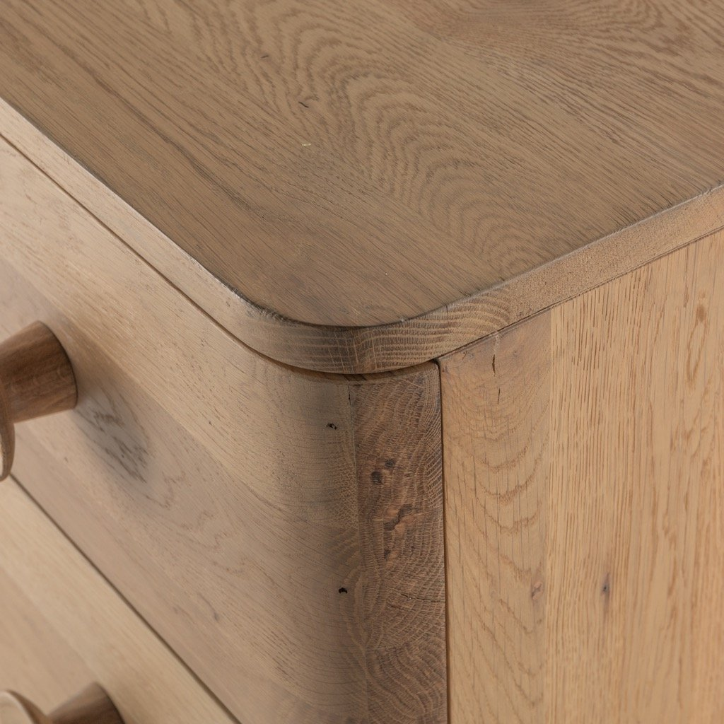 Mallory 6 Drawer Dresser - Light Oak corner detail