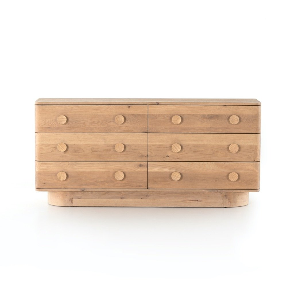 Mallory 6 Drawer Dresser - Light Oak Front View