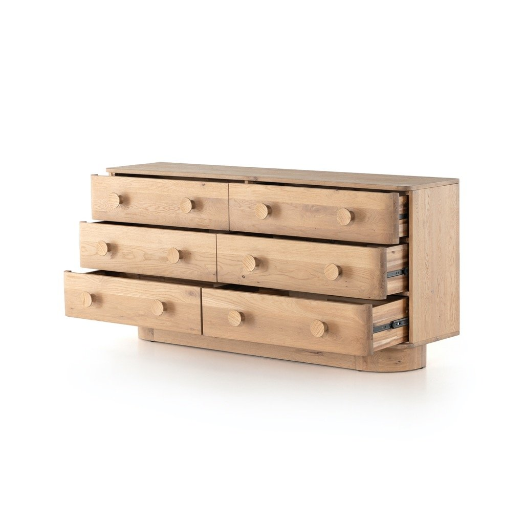 Mallory 6 Drawer Dresser - Light Oak open drawers