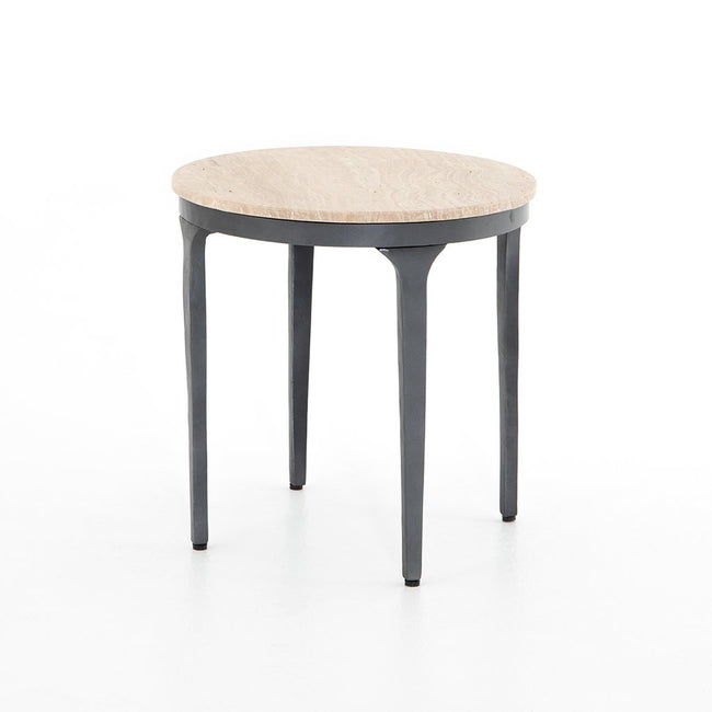 Marcus Travertine End Table IRCK-361 Four Hands
