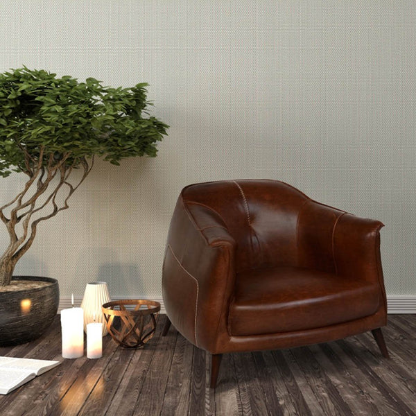 Martel Leather Club Chair Tan Solid Oak Wood