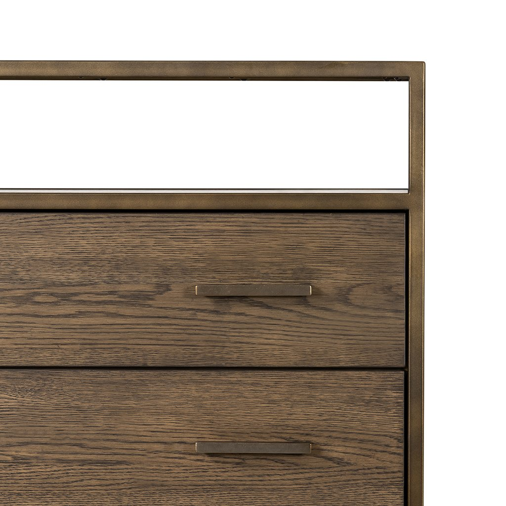 Mason 5 Drawer Oak Dresser Four Hands VHDN-018 Top Detail