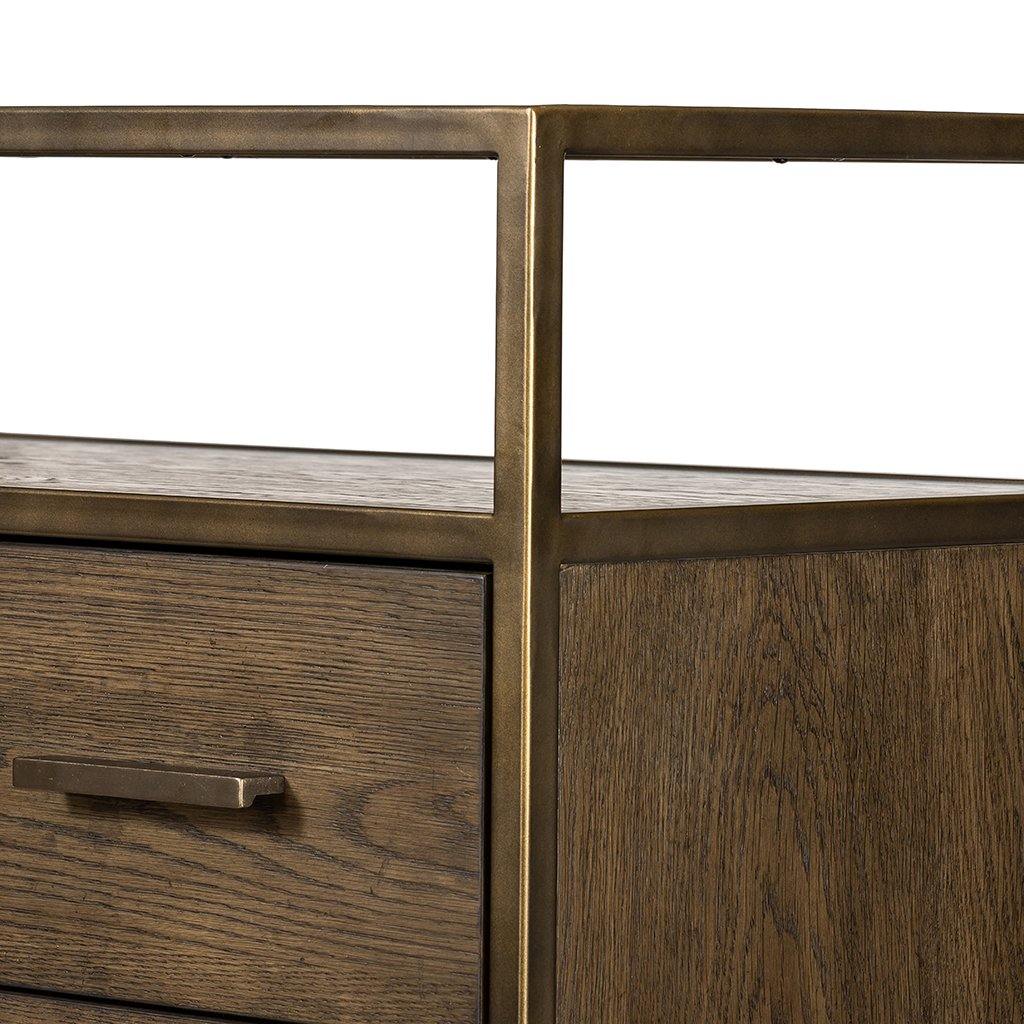 Mason 5 Drawer Oak Dresser Four Hands VHDN-018 Top Corner Detail